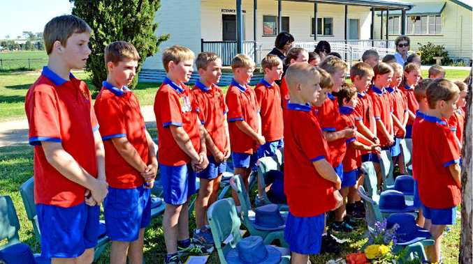 Freestone students at their Anzac service yesterday.