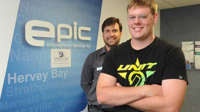 Michael Cameron (right) is happy to have a job with help from Matt Clark at Epic Employment as part of Project 360.