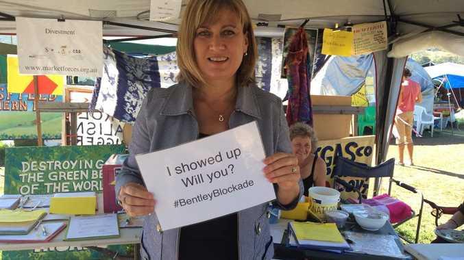 Richmond MP Justine Elliot at the Bentley blockade camp.