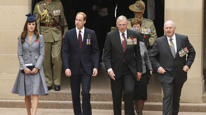 Prince William (2nd L) and Catherine, Duchess of Cambridge (L) arrive at the Australian National War Memorial with Ken Doolan (2nd R), National President of Australia's Returned and Services League of Australia (RSL) and Australia's Governor General Peter Cosgrove on ANZAC Day.