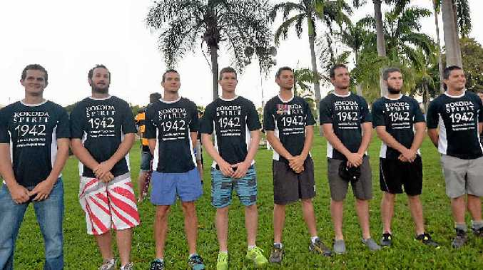 Returning from completing the Kokoda Track last week, eight Gladstone men chose to pay their respects by completing the same track as their ancestors. (L-R) Mick Smith, Jason Smith, Andrew Smith, Dave Smith, Troy Millers, James Maroske, Mitch Upton and Alf Gudgeon.