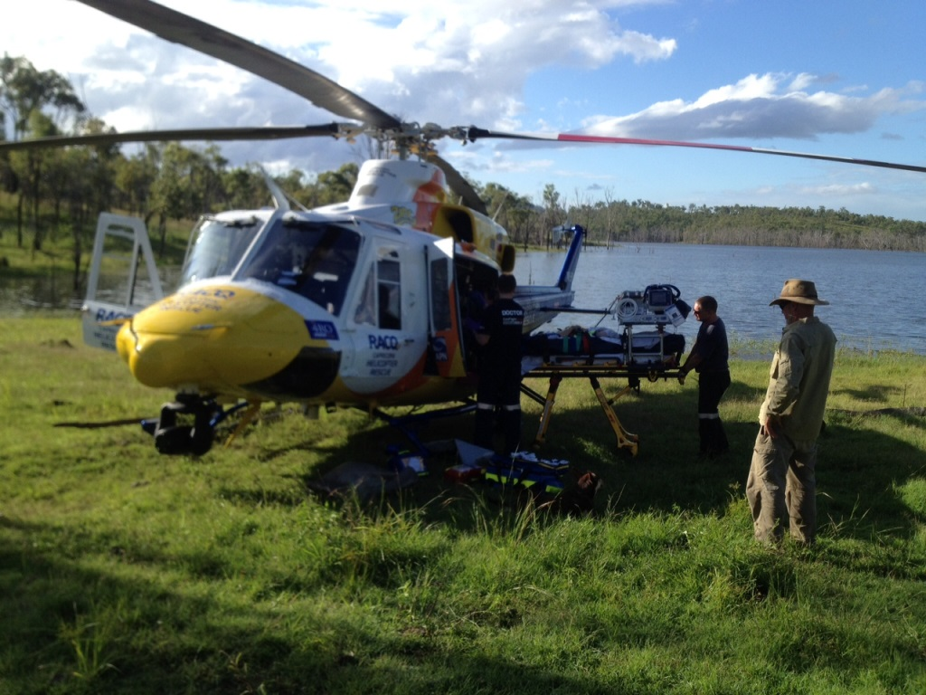 A woman was airlifted from a property at Lake Awoonga on Thursday afternoon after she fell from her horse.