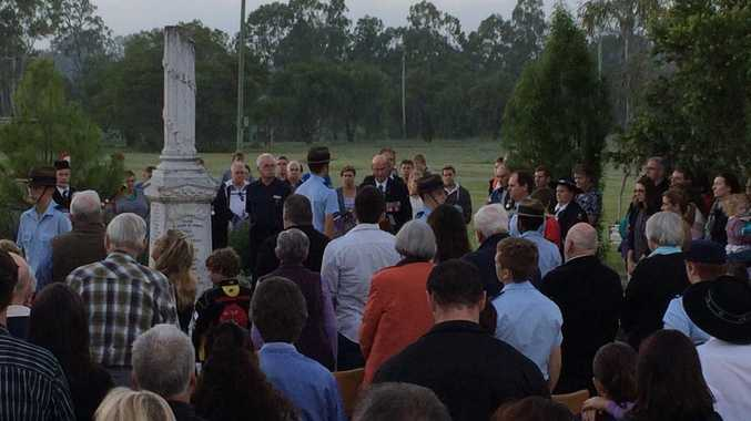 Dozens of people met at Tinana's war memorial for the Anzac Day dawn service.
