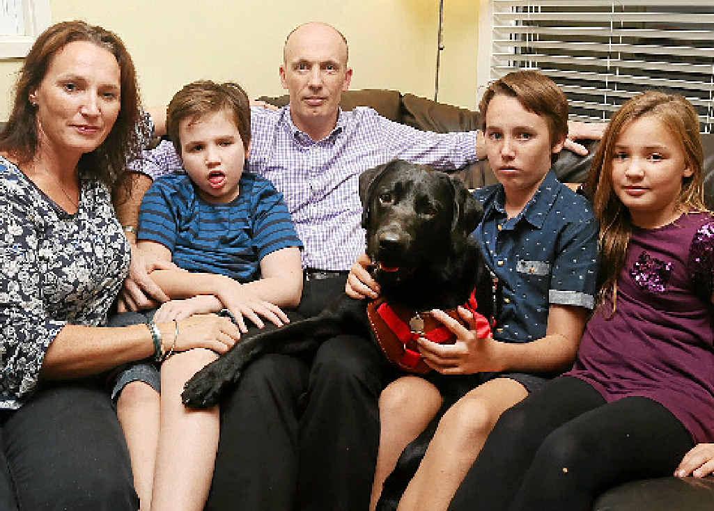 VISA BATTLE: Noosaville GP Stephen Grandison with his family (from left) Sarah, Tom, Zeus, Ben and Katie.