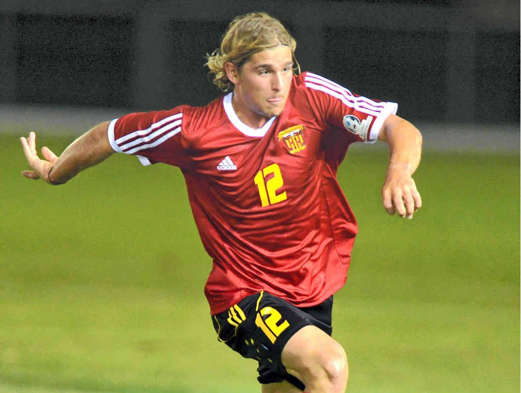 EXPECTED TO WIN: Kayne Varga heads forward for the Fire in the FFA Cup clash with Caloundra on Wednesday night.