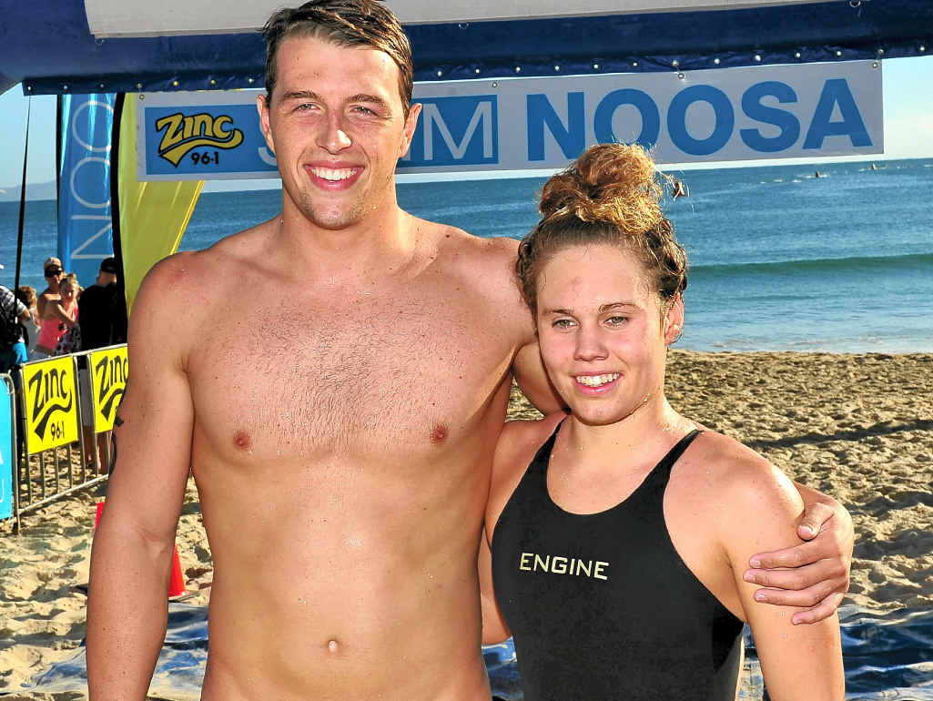 OPEN CHAMPS: George O'Brien and Chelsea Gubecka won the ocean swims at Noosa yesterday.