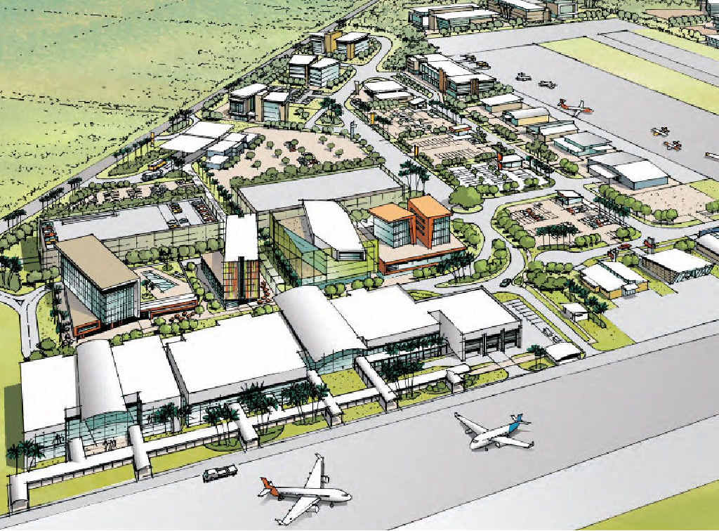 An artist's impression of a redeveloped Mackay Airport after a proposed $900million expansion project.