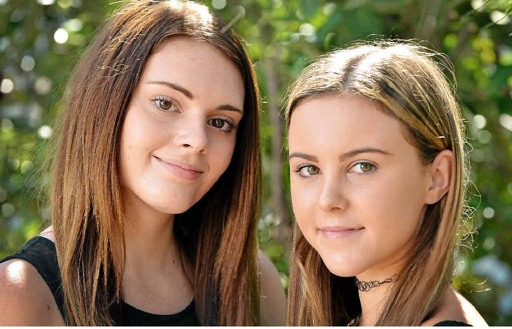 LOOKING GOOD: Mikaela Bailey, 16, and Sophie Funnell, 14, are hoping for modelling careers.