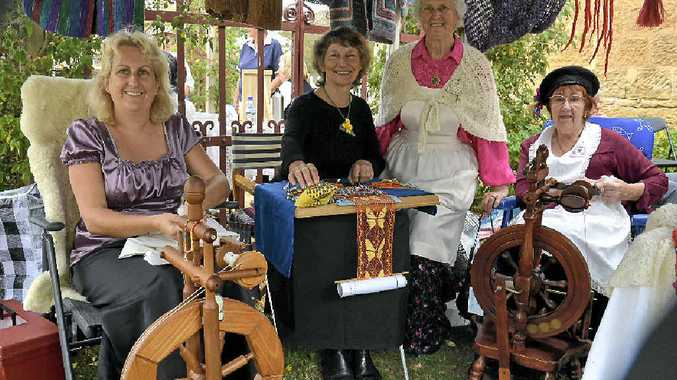Vicki Dwan, Rosemary Sutherland, Dawn Booth and Judy Donnelly at the Warwick Spinners and Weavers exhibition.