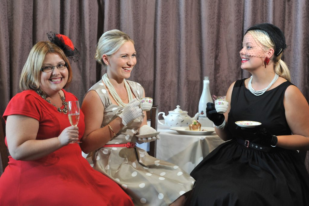 Inez Corfield, Angie Bettridge and Kim Roberts are ready fo rthe GEA 1950s high tea event inspiring women in industry.