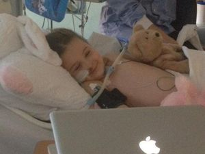 Brave little Abi stays in good spirits with help from loved ones