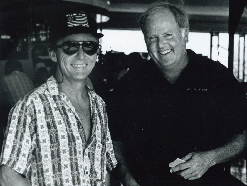 Former Beach Hotel manager John Murray (right) pictured with former Beach Hotel owner John Cornell at the re-built pub's opening.