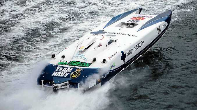 Chris and Brendan Frier's Navy Health superboat is heading north to compete at Bowen.