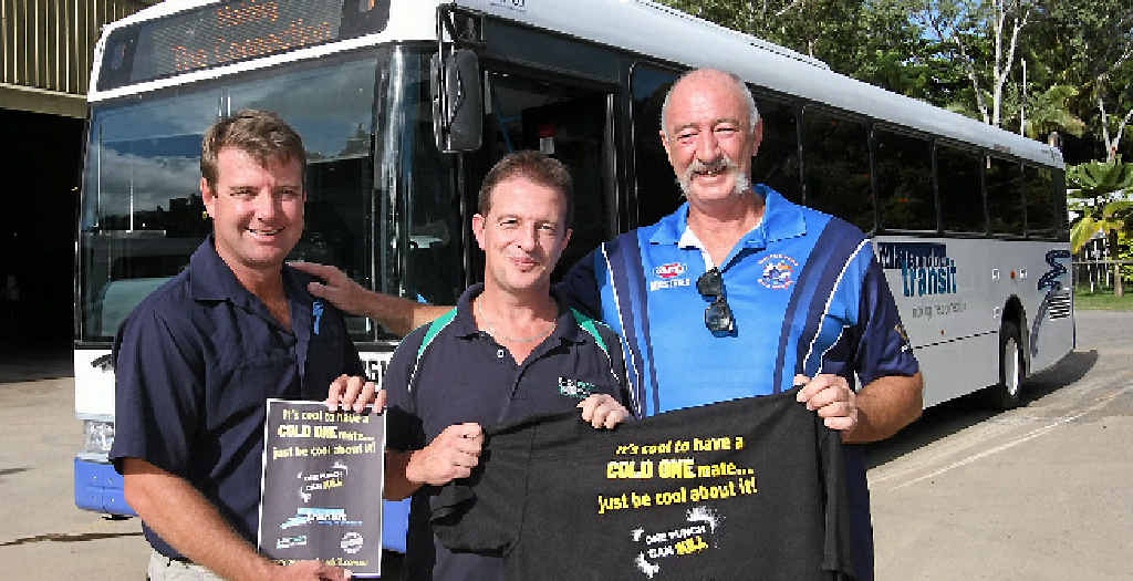 MOBILE MESSAGE: Whitsunday Transit owner Darren Crossley, Shirtfront Solutions owner Kevin Fancke and Bald Eagles president Jack Lumby, will be promoting their alcohol awareness campaign on Whitsunday Transit buses from the end of this week.