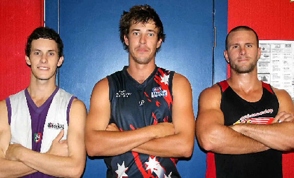 GAME ON: Whitsunday Sea Eagles' captains Matt Laskey, Robert Whitton and Cody Wright.