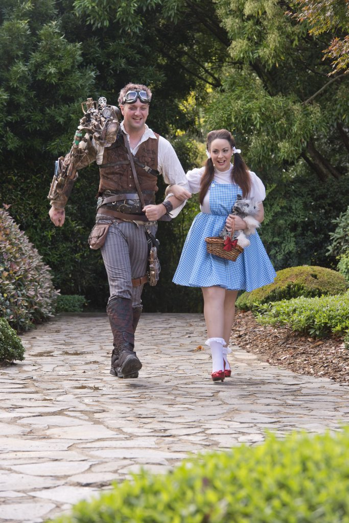 Cosplay enthusiasts are Nick Scotney and Anna Marangelli.