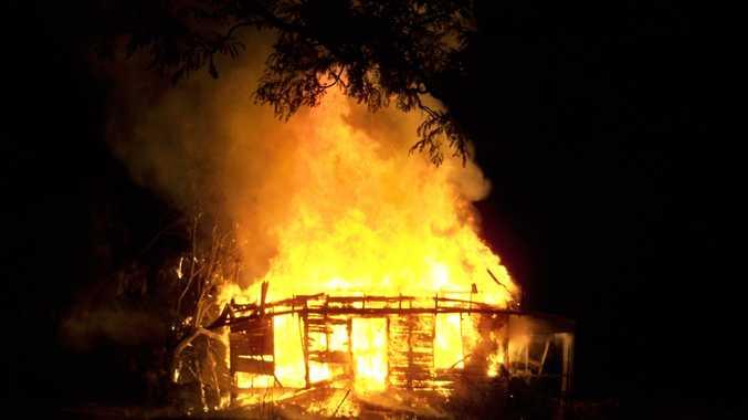 A blaze engulfs a house on Watson St, Warwick.