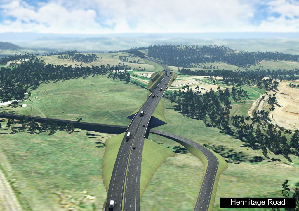 An artist's impression of the completed Toowoomba Bypass at Hermitage Rd.