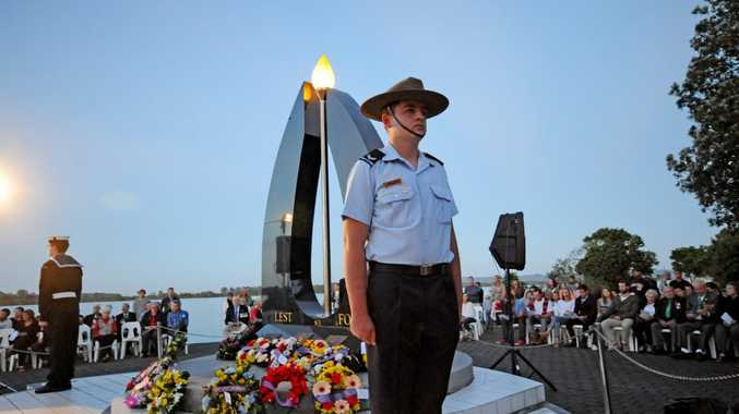 Nicholas Cawley from the Lismore Airforce cadets stands fast at the 2014 Ballina dawn service.