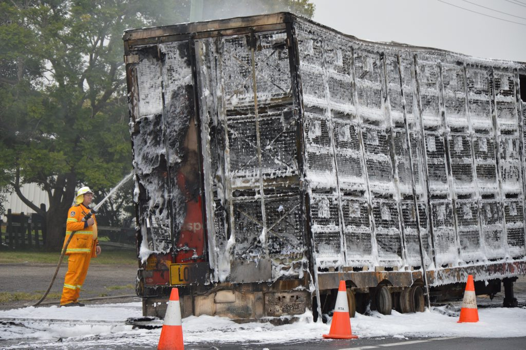 The Australia Post truck that was completely burnt out in a fire at Swan Creek this morning. Photo Georja Ryan / Daily Examiner