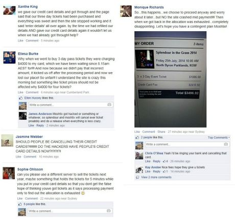 Splendour in the Grass patrons post their outrage at this morning's mayhem on the festival's Facebook page.