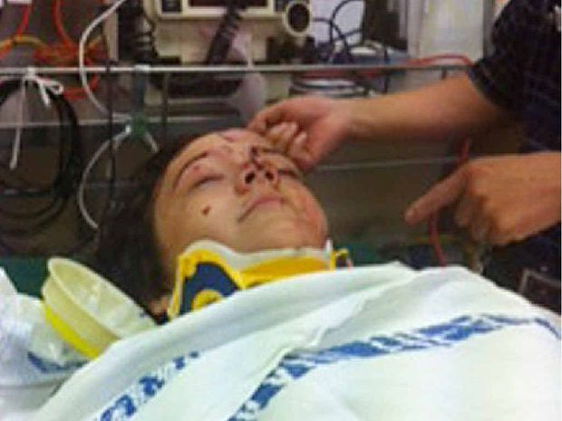 Jacob Roy pictured in hospital after being hit by a drunk driver at Imbil last month.