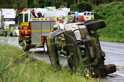 A 51-year-old woman was treated for a cut to her elbow and transported to Ipswich Hospital after a vehicle rollover on the Cunningham Hwy this morning.