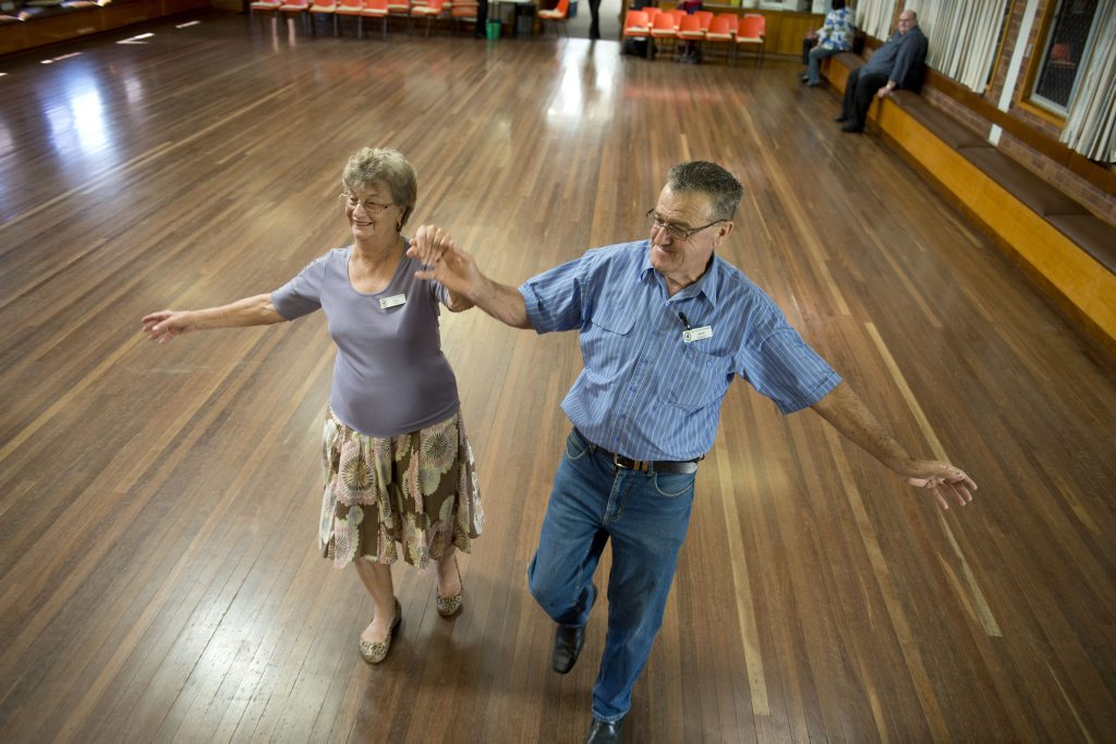 Image for sale: ( from left ) Fay Perkins and Jack Hetherton dance the day away at the Senior Cits . Photo Nev Madsen / The Chronicle