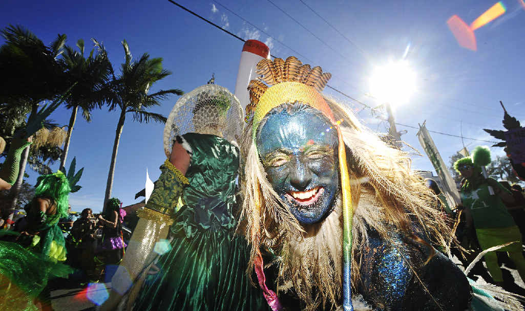 FESTIVAL FUN: Participants in the 2014 Nimbin MardiGrass express their excitement as part of the parade.