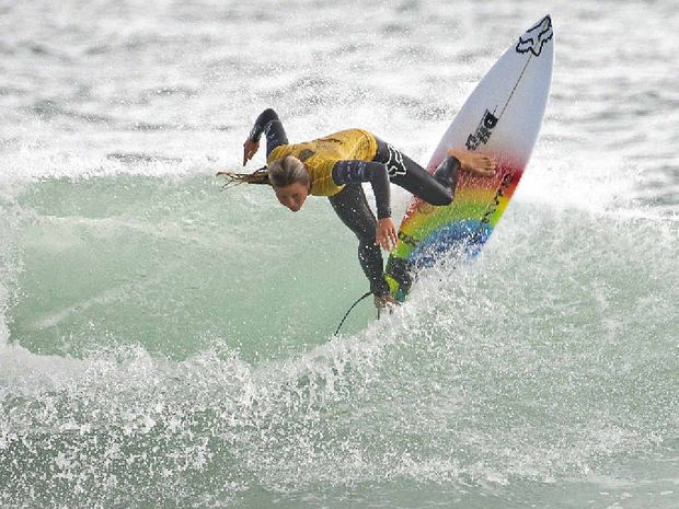 TITLE LOOMS: Keely Andrew continues to storm through the Port Taranaki Pro draw.