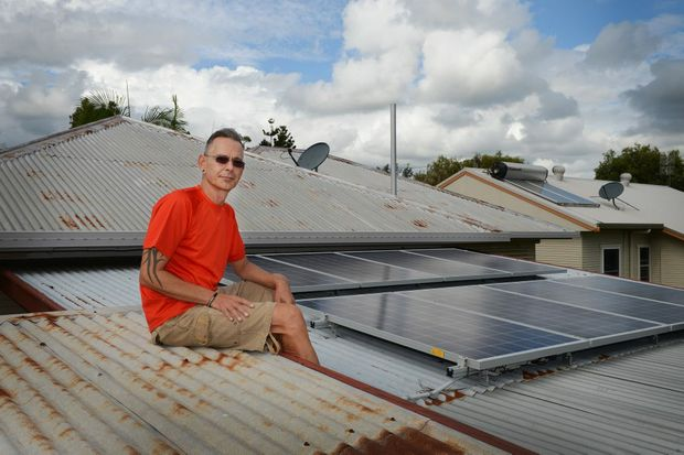 SUN'S ENERGY: Reiner Becker of East Lismore had some solar panel installed on his house.