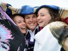 Erin Noble, Brandy-Lee Stutz, Chloe Birt huddle up with blankets during the Relay for Life at Maryborough Showgrounds.