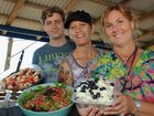 Mark Brown, Nana Tangata and Angelina Oxley with a few vegan dishes at the Bay Vegan Potluck lunch in Torquay.