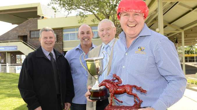 The Clarence River Jockey Club (CRJC) 2014 Kensei draw took place on Saturday night with the Grafton District Services Club (GDSC) winning the naming rights to the Grafton Cup. Pictured (left to right) is CRJC treasurer Stephen Haines, GDSCP Garry Williams CRJC Chairmen Graeme Green and GDSC Manager Nathan Whiteside. Photo Debrah Novak / The Daily Examiner