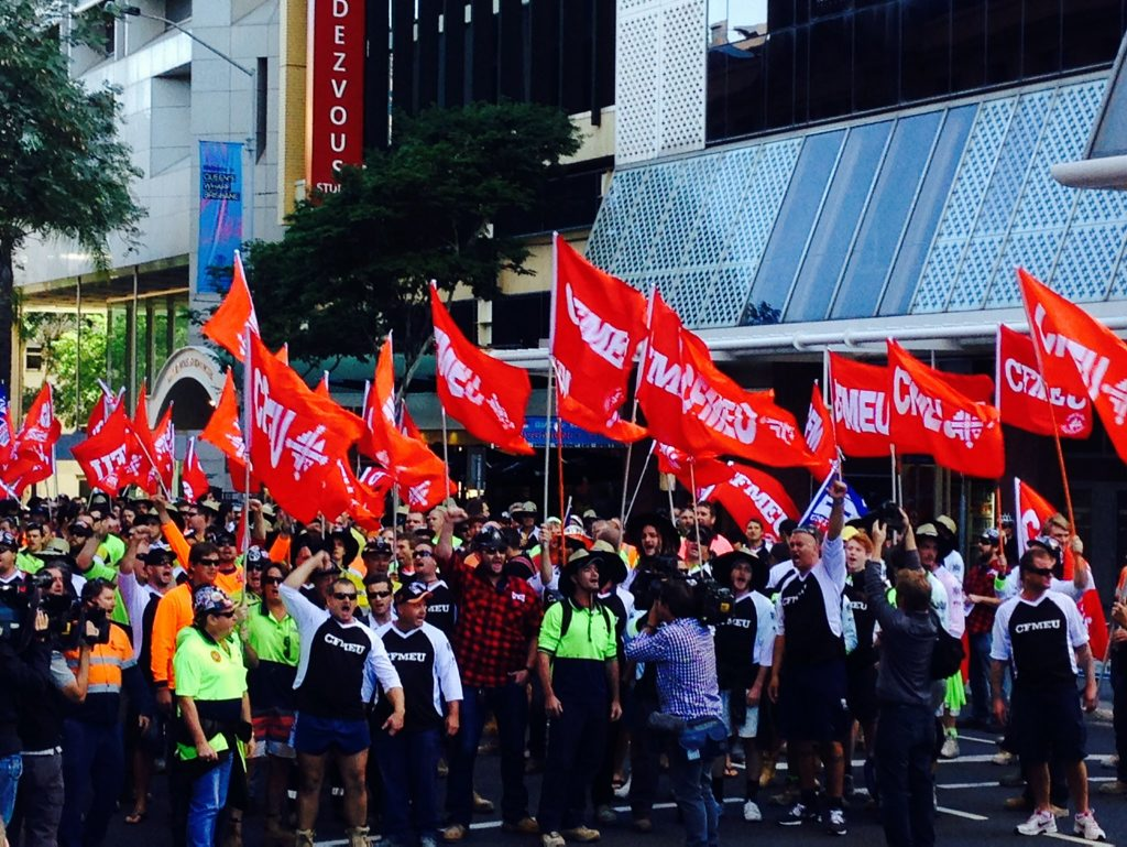 CFMEU organised protest in the Brisbane CBD on Monday, May 5, 2014. Picture: Adam Davies
