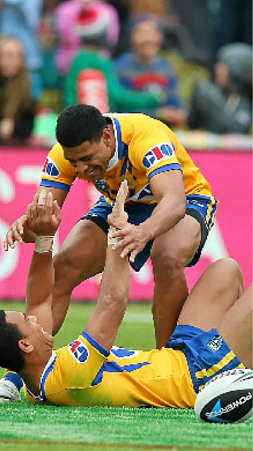 Will Hopoate of City celebrates with Daniel Tupou of after scoring a try in the last minute of the match against Country.