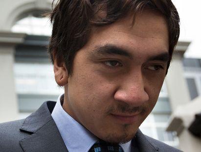 Korotangi Paki , son the Maori King Tuheitia, leaves the Auckland District Court.