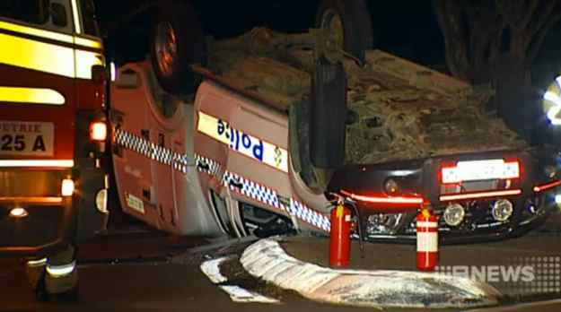 A police van was rammed during a chase from the Sunshine Coast to Brisbane's north. Photo: Nine News