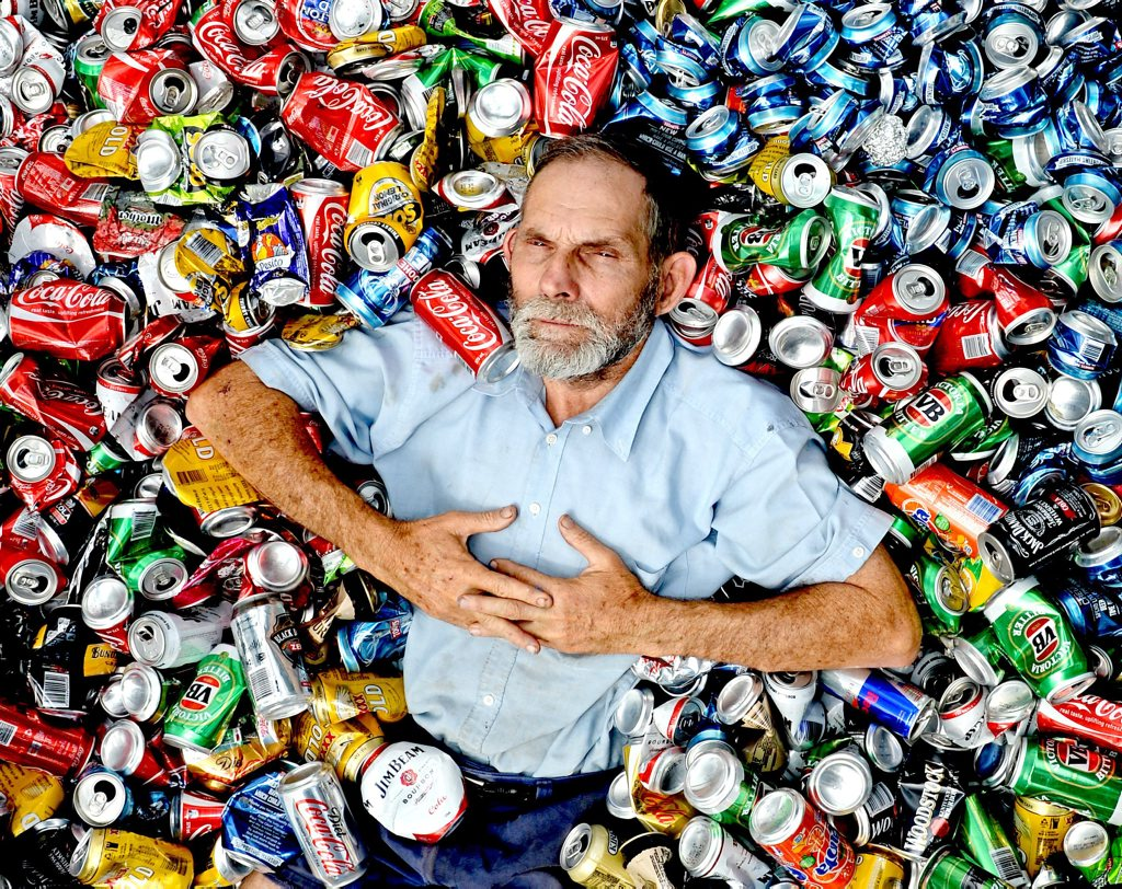 Phil Taylor with some of his thousands of cans he recycles every year.