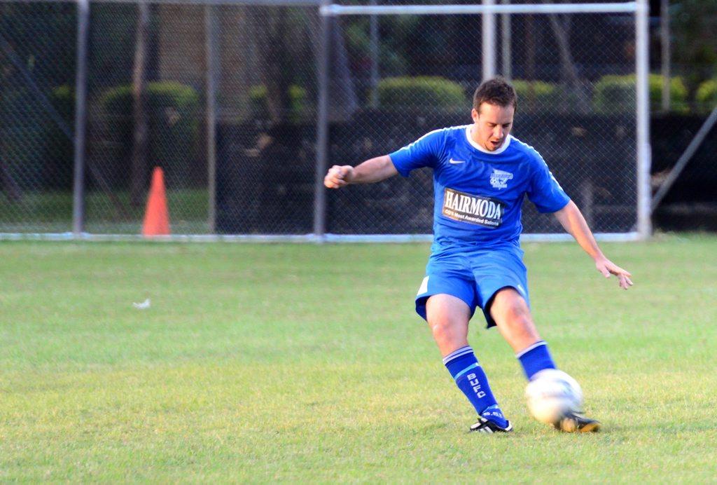 Regan Alder. Bluebirds vs Emerald. Soccer / Football at Webber Park. Photo Sharyn O'Neill / The Morning Bulletin