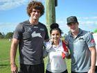 MEETING MATT: Casino High School student Cindy Pulley has the chance to meet her South Sydney heroes Matt King and Luke Keary at the 2014 Matt King Shield last week.