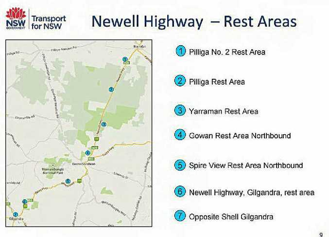 INFORMATION GATHERING: Rest areas trial map identifies stops.