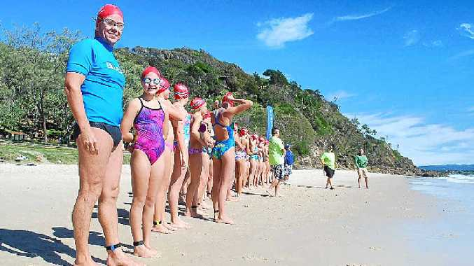 Sunday's youngest competitor, 11-year-old Taylor Halliday, was doing her first ocean swim, accompanied by her father Trent Taylor.