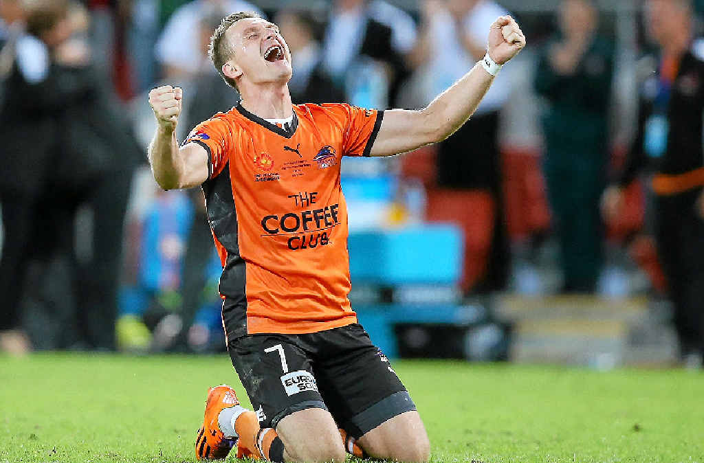 Besart Berisha lets it all out after the final whistle in Sunday's grand final – his last game for the Brisbane Roar before moving to Melbourne Victory next season.