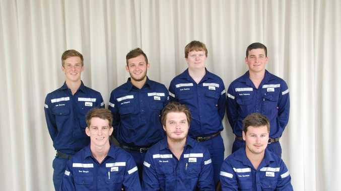 The new first year apprentices are (from back) Zak Karran, Jack Lingard, Jack Pashley, Jack Cameron, (front) Ben Dingle, Sam Powell and Luke Freeman. Photo Contributed