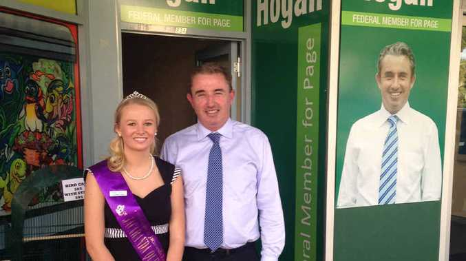 ROYAL TOUCH: Jacaranda Queen Cerene Lowe opens the new Grafton office for Page MP Kevin Hogan yesterday, where he spoke of the detrimental side effects of budget talk.