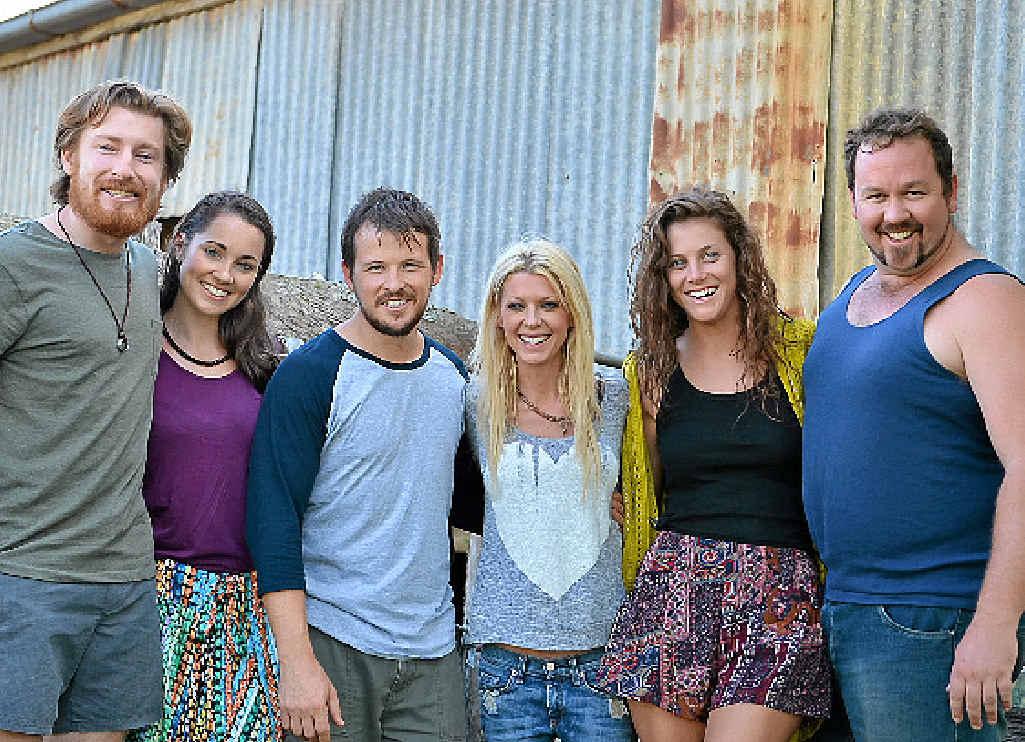 David Beamish, Genna Chanelle Hayez, Dean Kirkright, Tara Reid, Allira Jaques and Sam Coward during filming of Charlie's Farm at Lagoon Pocket.