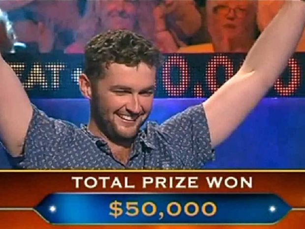 Former Allora local Tom Cowley celebrates his $50,000 win on Tuesday night's episode of Millionaire Hot Seat.