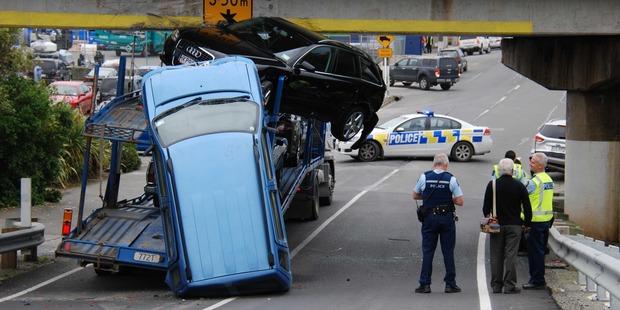 The crash scene in Oamaru. Photo / Carol Edwards