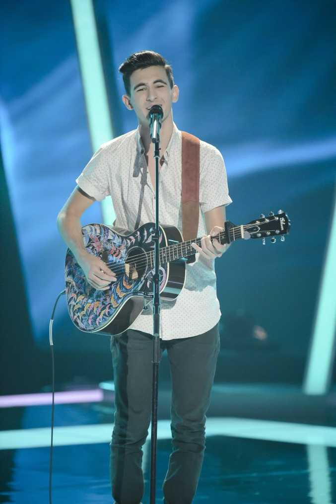 Isaac McGovern pictured during his blind audition for the 2014 series of The Voice Australia. Supplied by Channel 9/WIN.
